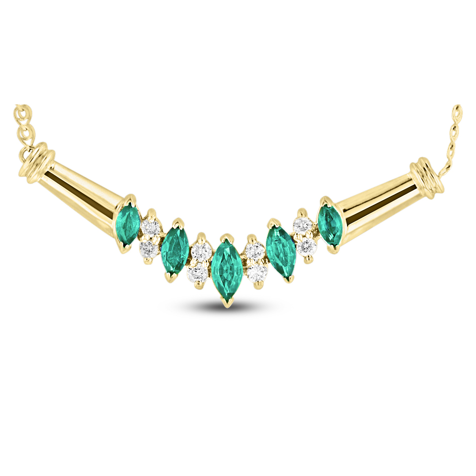 View 0.65ctw Emerald and Diamond Necklace in 14k yellow gold