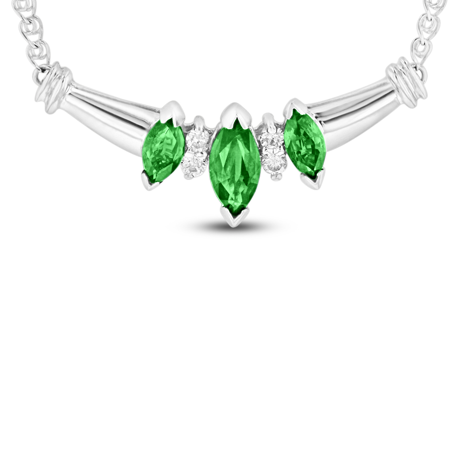 View 0.75 Emerald and Diamond Necklace in 14k white gold