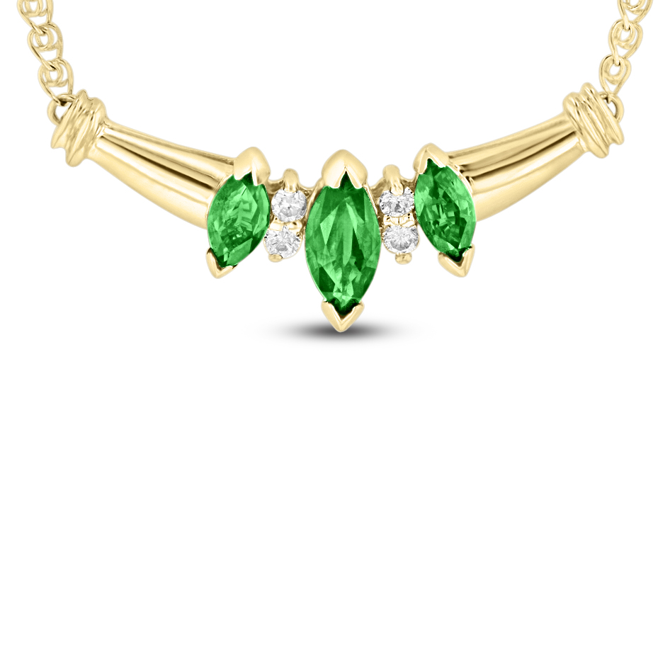 View 0.75 Emerald and Diamond Necklace in 14k Yellow gold