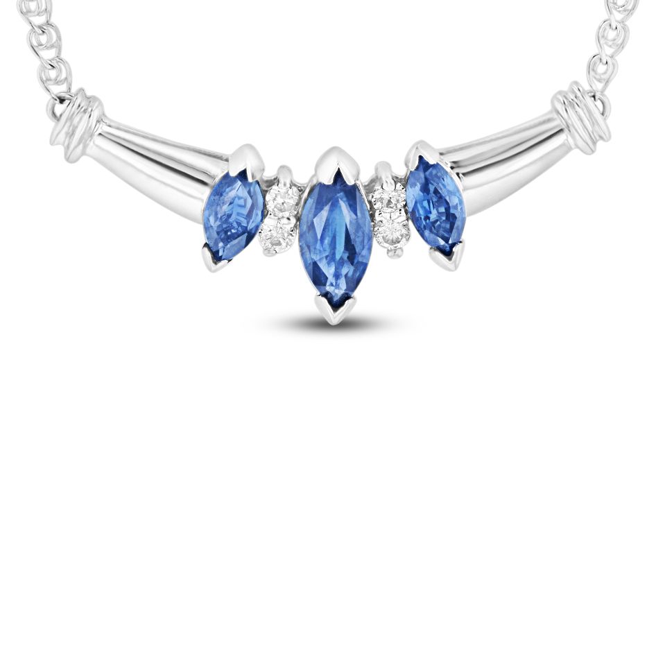 View 0.75 Sapphire and Diamond Necklace in 14k white gold