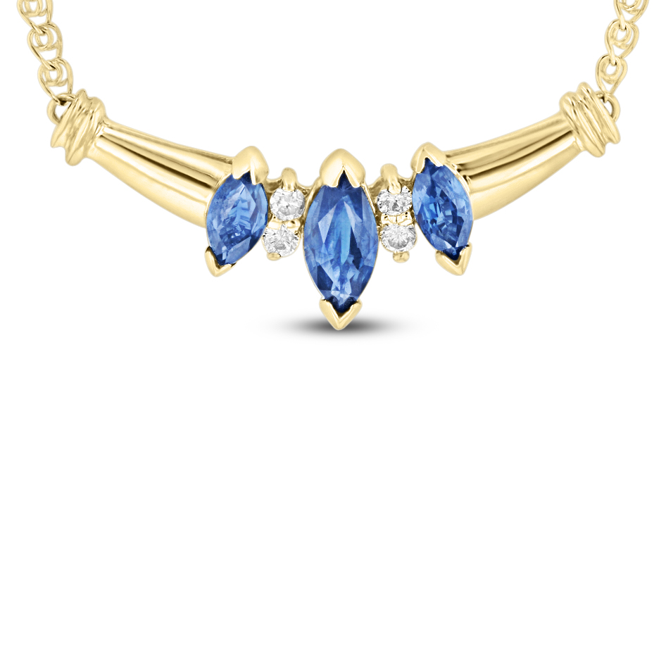 View 0.75 Sapphire and Diamond Necklace in 14k Yellow gold