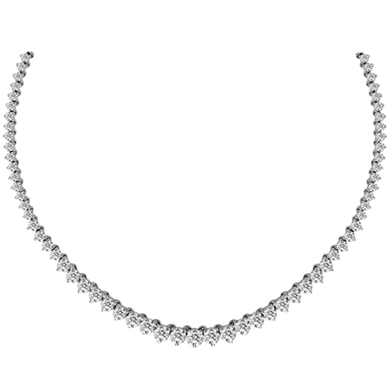 View 10.00cttw Diamond Graduate Tennis Necklace in 14k White Gold