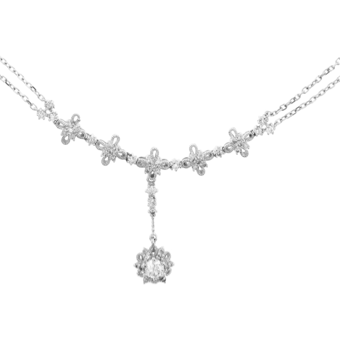 View 14k Gold Flower Cluster Fashion Necklace with 0.75cttw od Diamonds