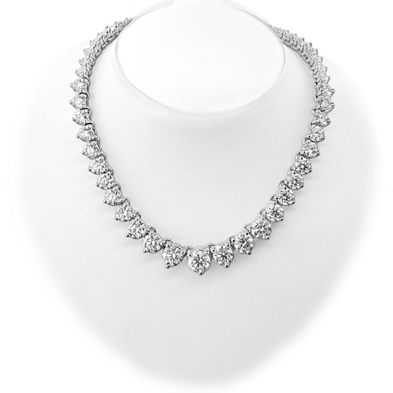 View 15.00ct tw 14K White Gold 16 Inch Tennis Necklace H-I SI Graduated Diamonds