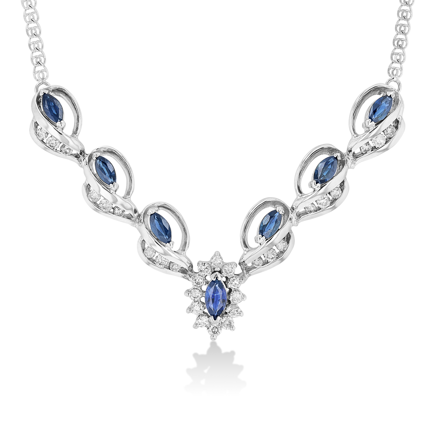 View 0.65ctw Diamond and Sapphire Necklace in 14k WG