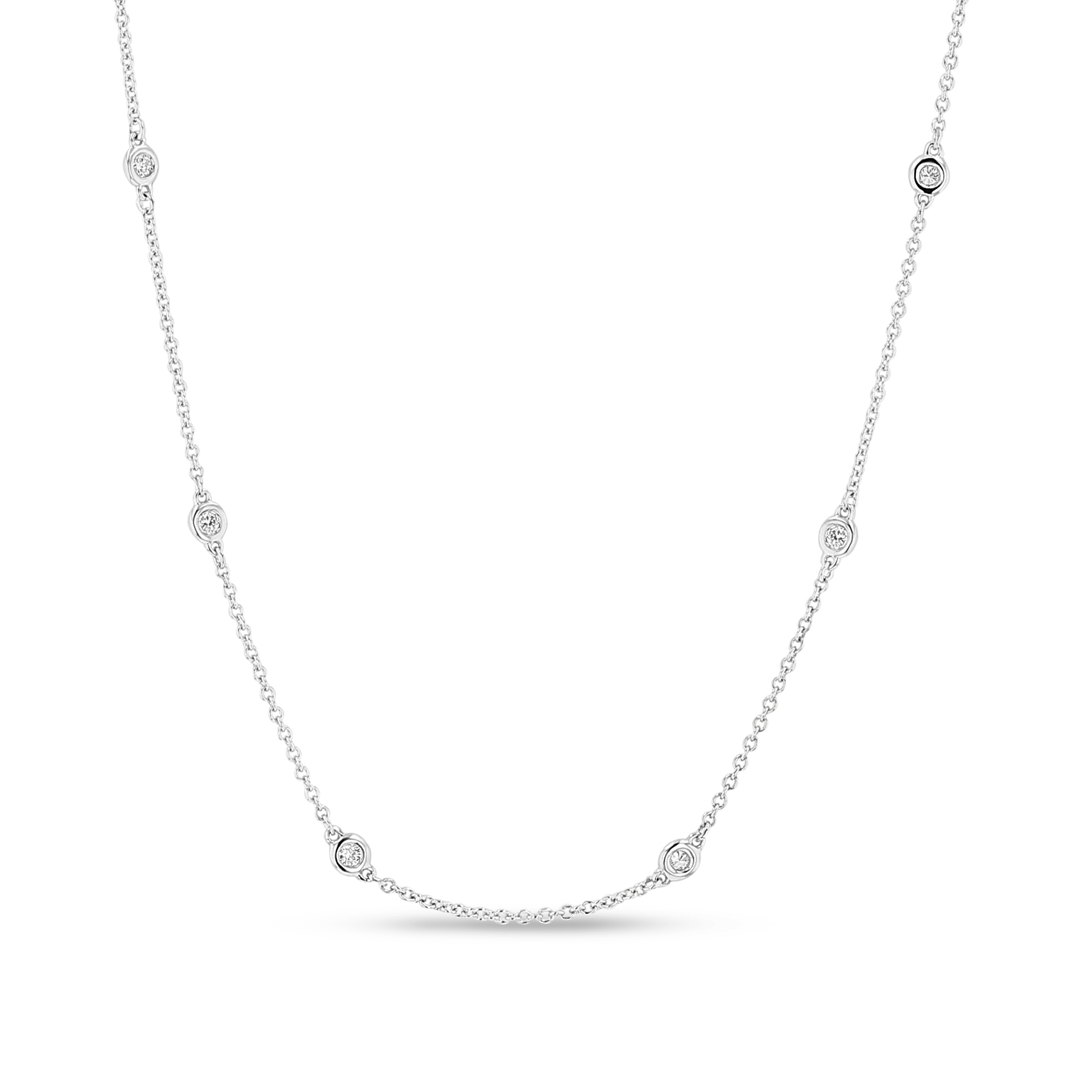 View 0.29ctw 18 inch Diamond By the Yard Necklace in 14k White Gold