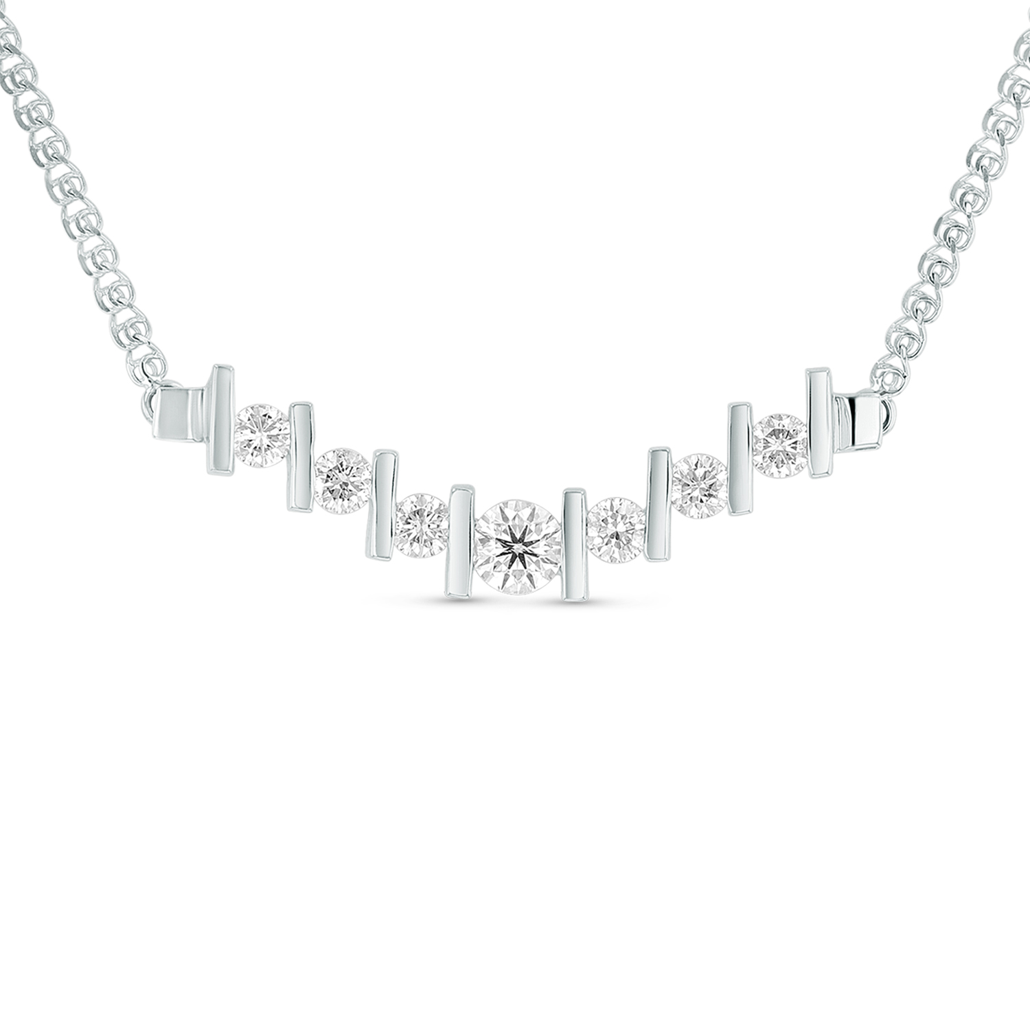 View 1.05ctw Diamond V Shaped Necklace in 14k Gold