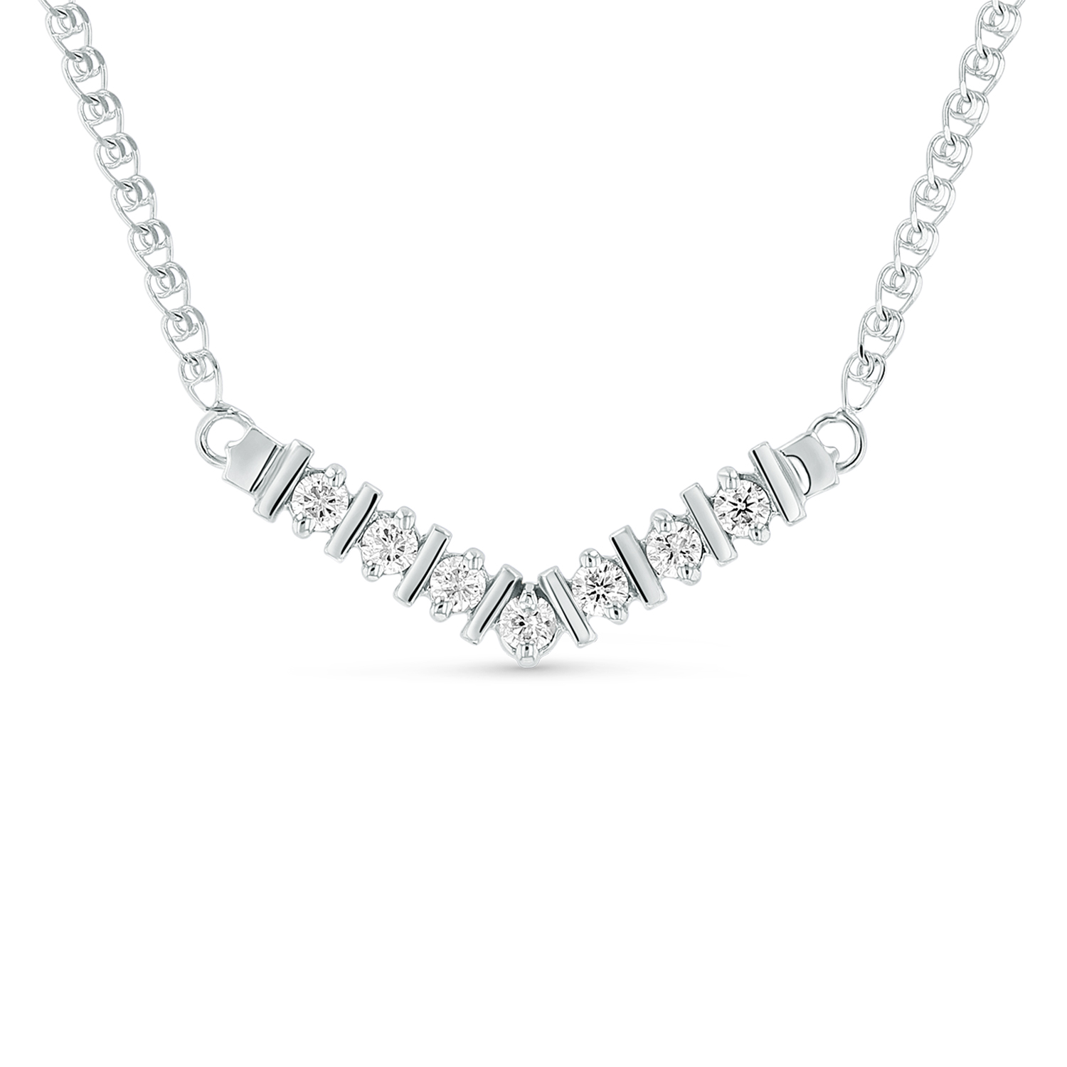 View 1/4ctw Diamond Necklace in 14k White Gold