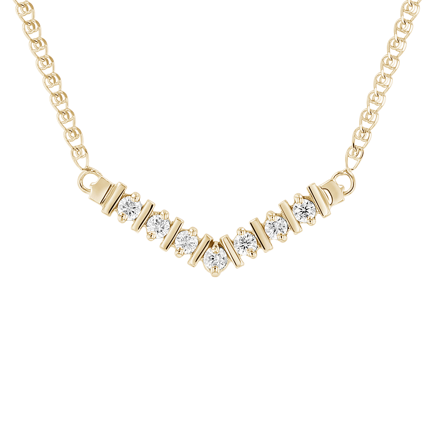 View 1/4ctw Diamond Necklace in 14k Yellow Gold
