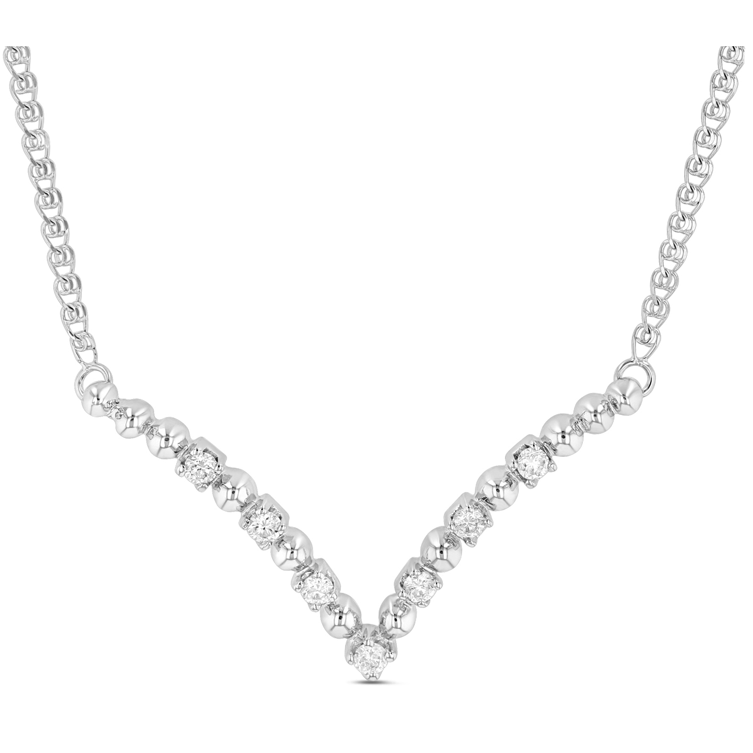 View 0.21ctw Diamond V Shaped Necklace in 14k White Gold