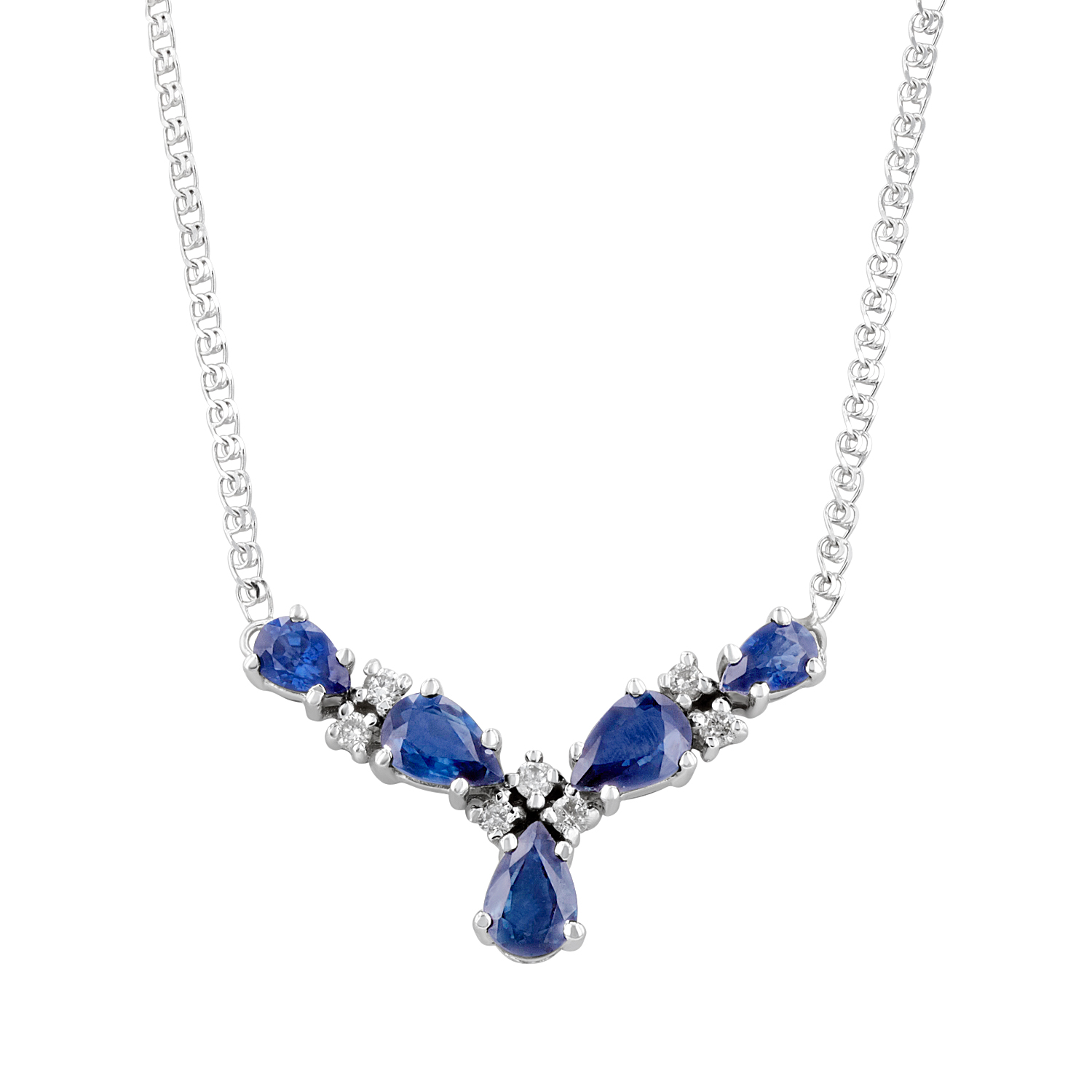 View 1.94ctw Diamond and Sapphire Necklace in 14k White Gold