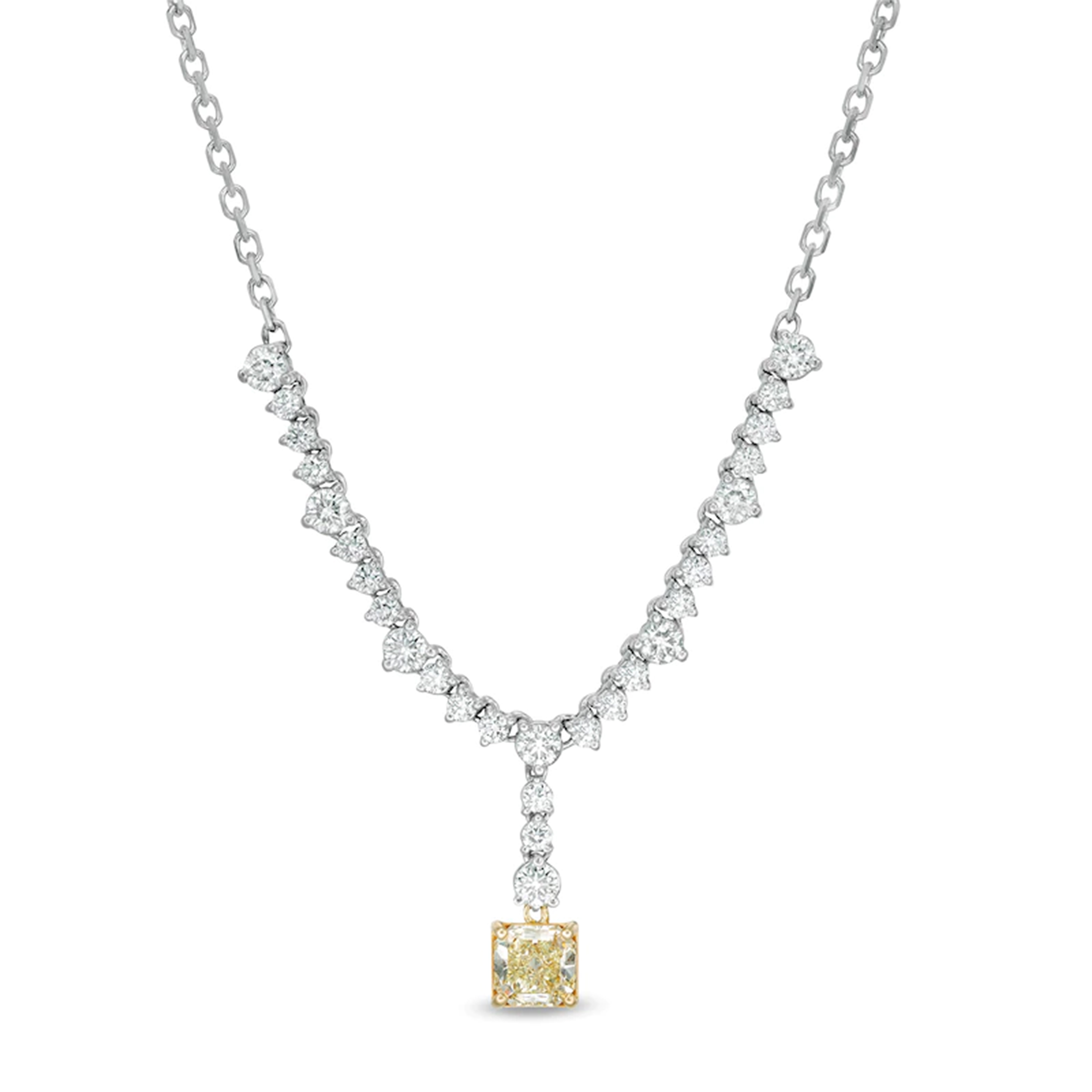 View 4.39ctw Fancy Yellow Diamond Necklace in 14k/18k Two Tone Gold