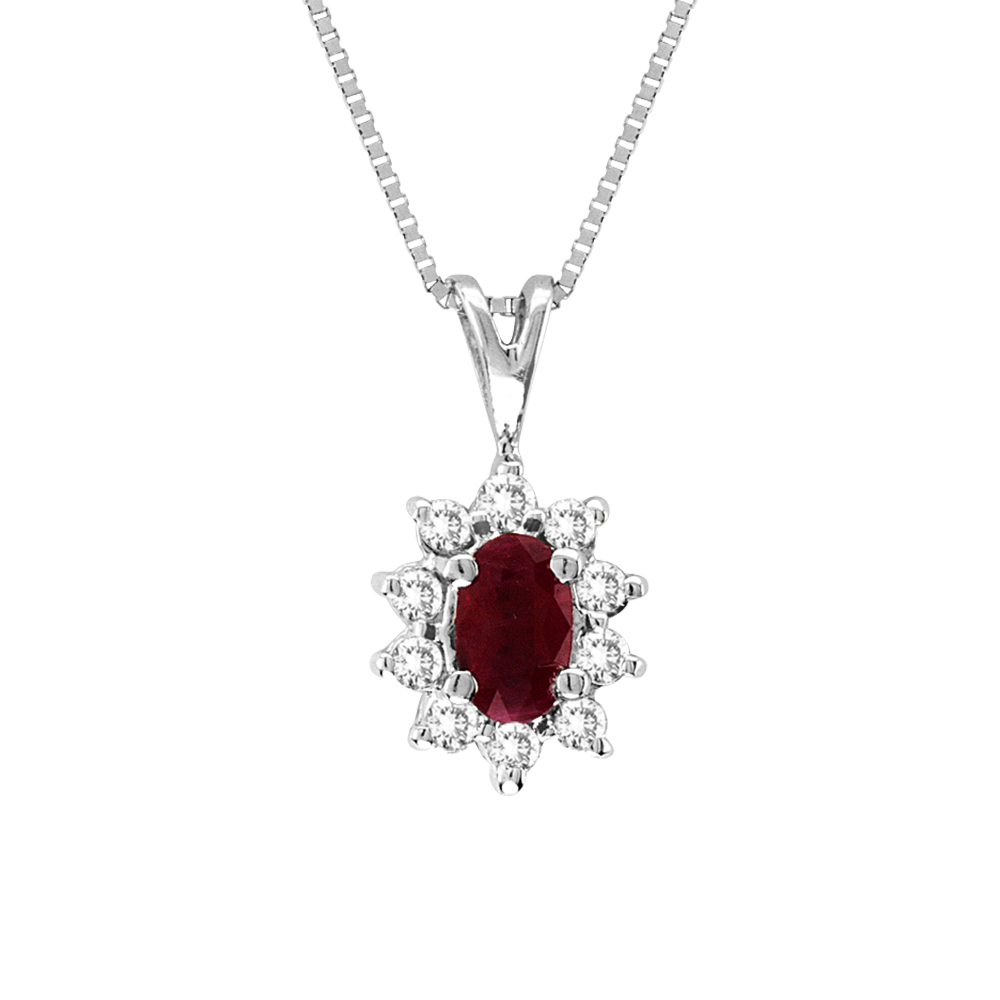 0.35cttw Diamond and Natural Heated Ruby Pendant in 14k Gold