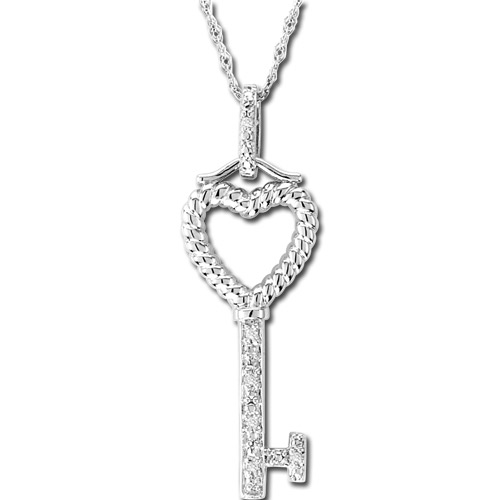 View 0.02ct Diamond Heart Sterling Silver Key Pendant with 18 Inch Chain