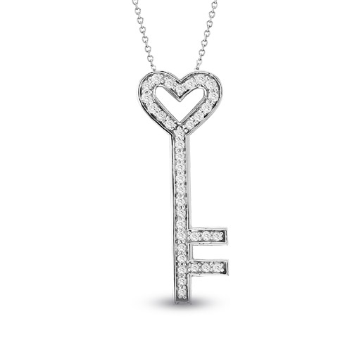 View 14k Gold 0.60ct tw Diamond Key Pendant With 16 inch Chain