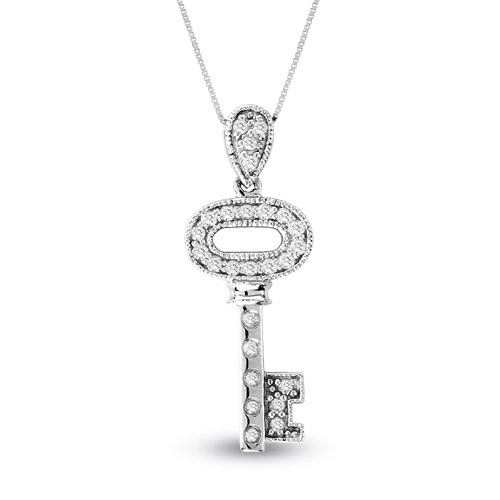 View 14k Gold 0.35ct tw Diamond Key Pendant With 16 inch Chain
