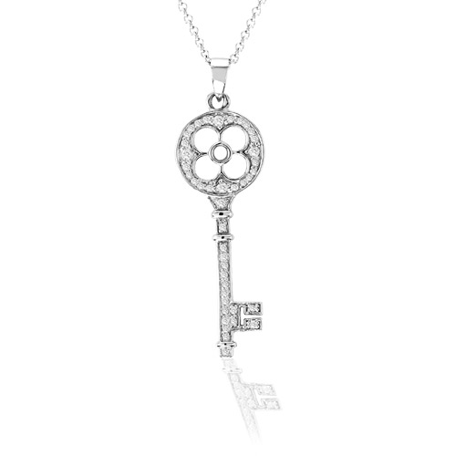 View 14k Gold 0.30ct tw Diamond Key Pendant With 16 inch Chain