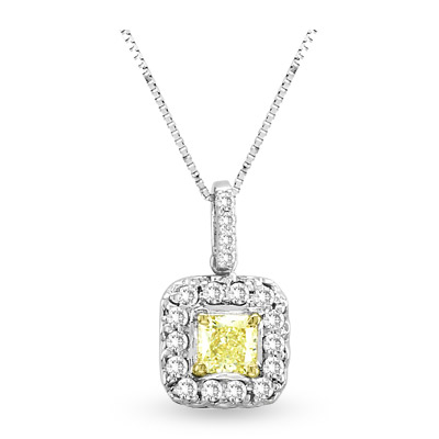 0.64ct tw White & Natural Fancy Yellow Radiant Cut Diamonds Pendant 18 kt Gold With 16 Inch Chain