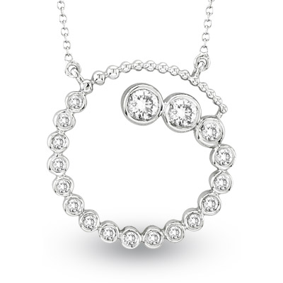 View 0.75ct tw Diamond 14k Gold Journey Circle Pendant. Chain Included