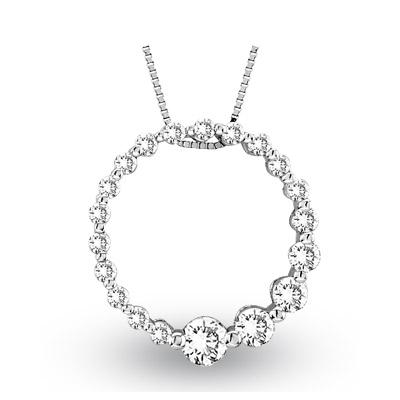 View 1.00ct tw Diamond 14k Gold Journey Circle Pendant. Chain Included (20mm in diameter)