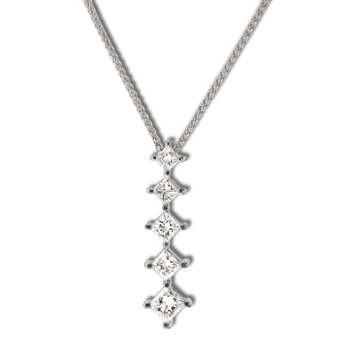 View 14k Gold Five Stone Princess Cut Journey Pendant with 1.00ct of diamonds. 16 inch Wheat Cain Included.