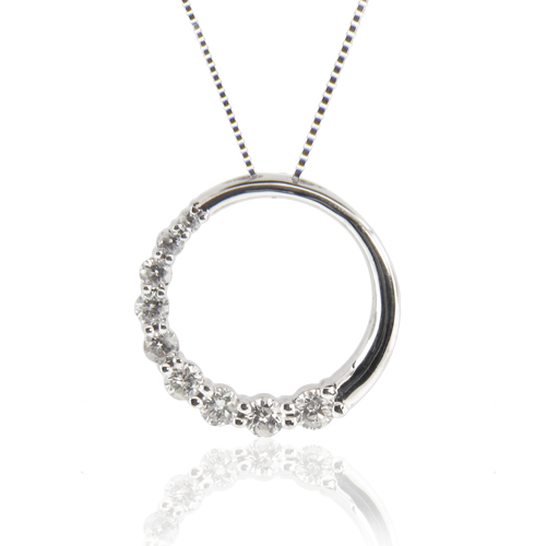 View 0.50ct tw Diamond 14k Gold Journey Circle pendant. 16 inch Box chain Included