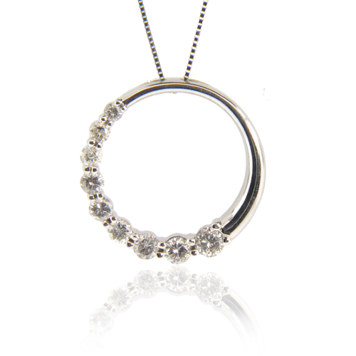 View 0.75ct tw Diamond 14k Gold Journey Circle Pendant. Chain Included (3/4 inch diameter)