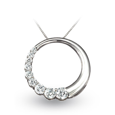 View 1.00ct tw Diamond 14k Gold Journey Circle Pendant. Chain Included