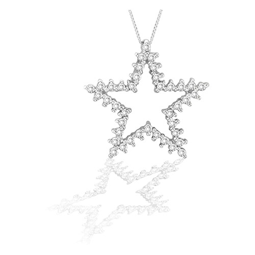 14k Gold Star Pendant with 0.40cts of diamonds. Chain Included