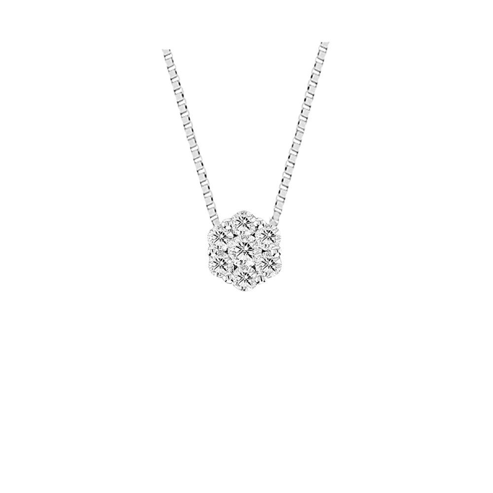 View 0.15cttw Diamond Cluster Pendant in 14k Gold