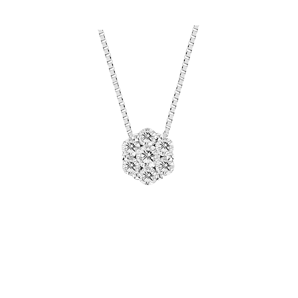 View 0.25cttw Diamond Cluster Pendant in 14k Gold