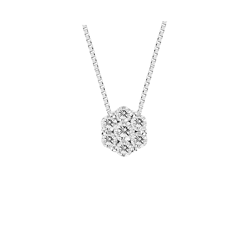 View 0.35cttw Diamond Cluster Pendant in 14k Gold