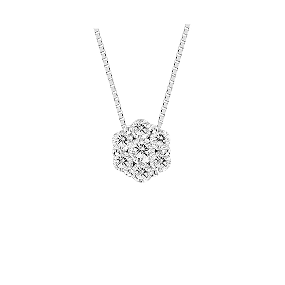 View 0.50cttw Diamond Cluster Pendant in 14k Gold