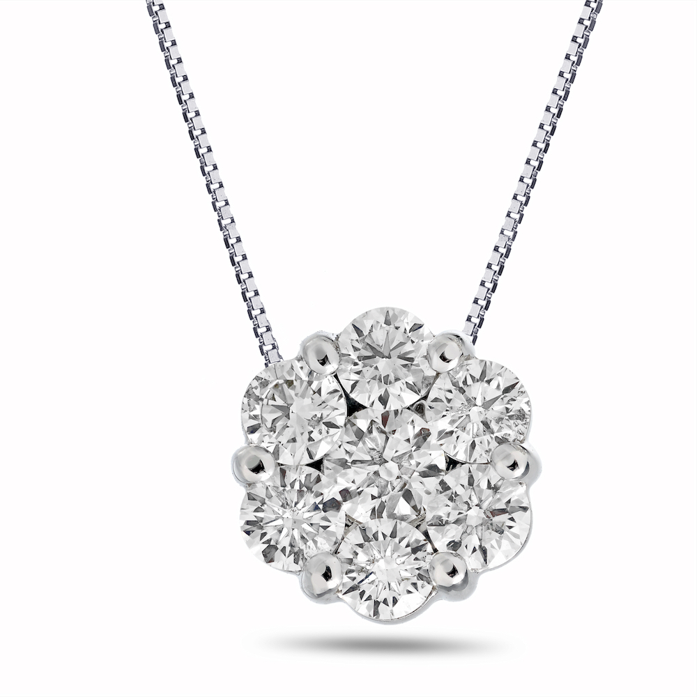 View 1.00cttw Diamond Cluster Pendant in 14k Gold