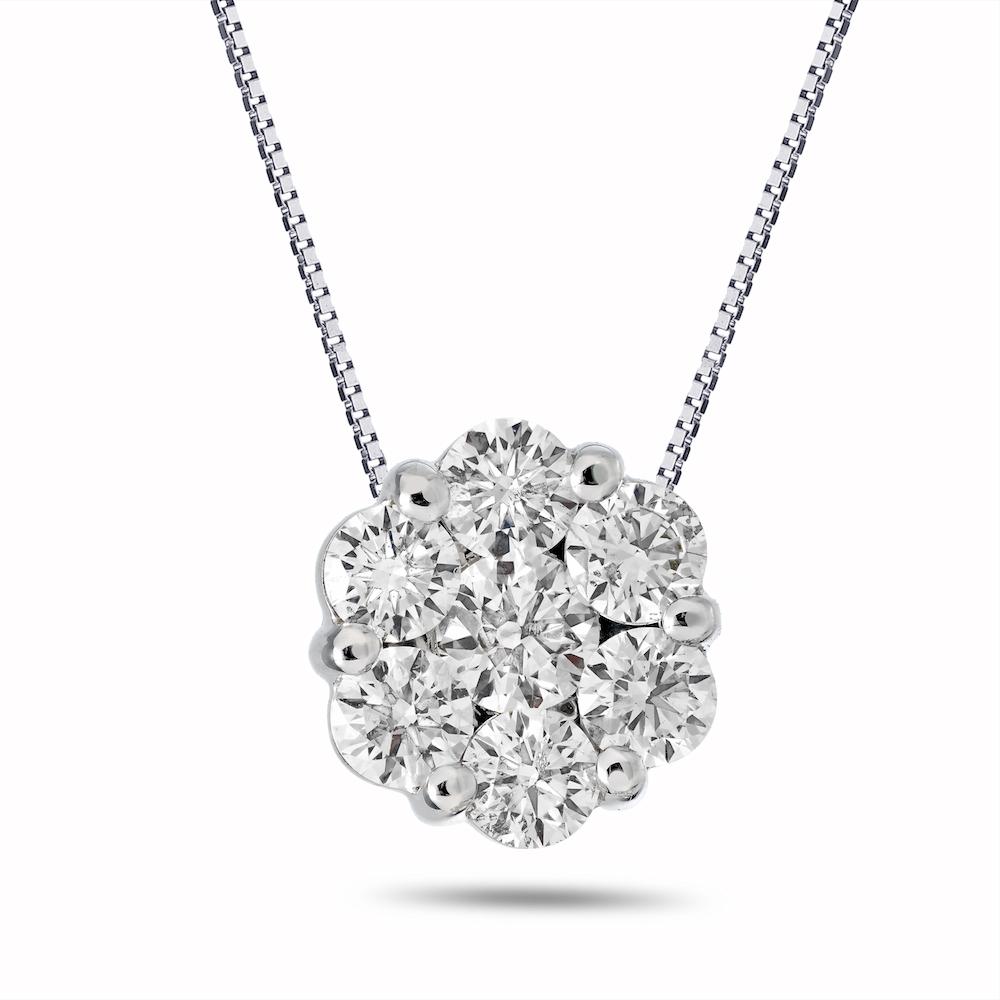 View 0.75ctw Diamond Cluster Earrings in 14k Gold
