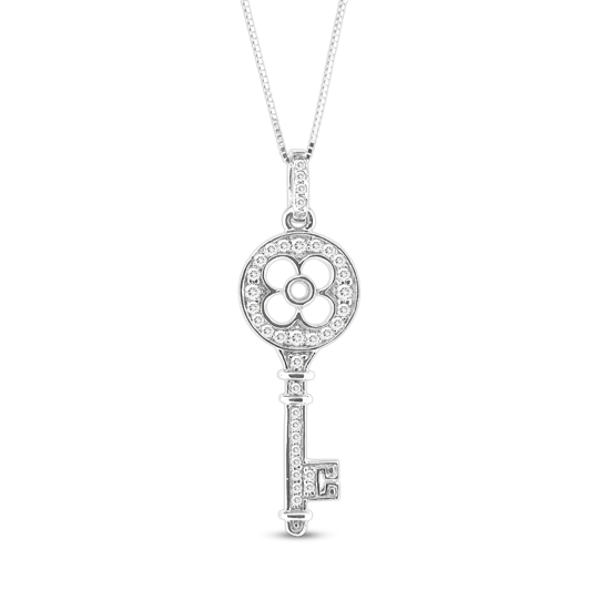 View 0.25 ct tw Diamond 14k Gold Key Pendant With 16 Inch Gold Chain