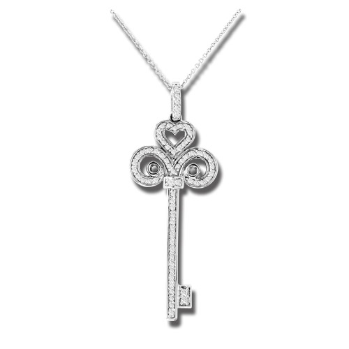 View 0.50 ct tw Diamond 14k Gold Key Pendant With 16 Inch Gold Chain