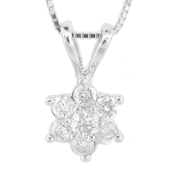 View 0.30ct tw Diamond Flower Cluster Pendant in 14k Gold