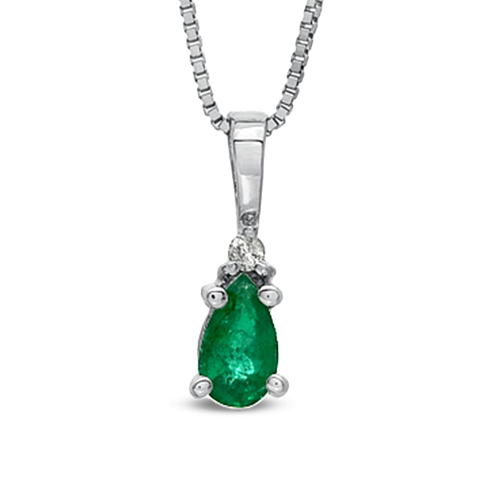 0.20ct tw Pear Shaped Emerald and Diamond Pendant in 14k Gold