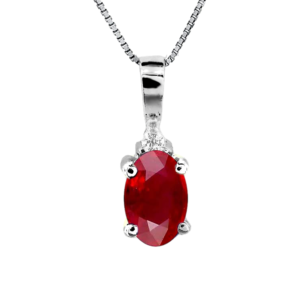 0.52ct tw Diamond and Natural Heated Oval Ruby Pendant in 14k Gold