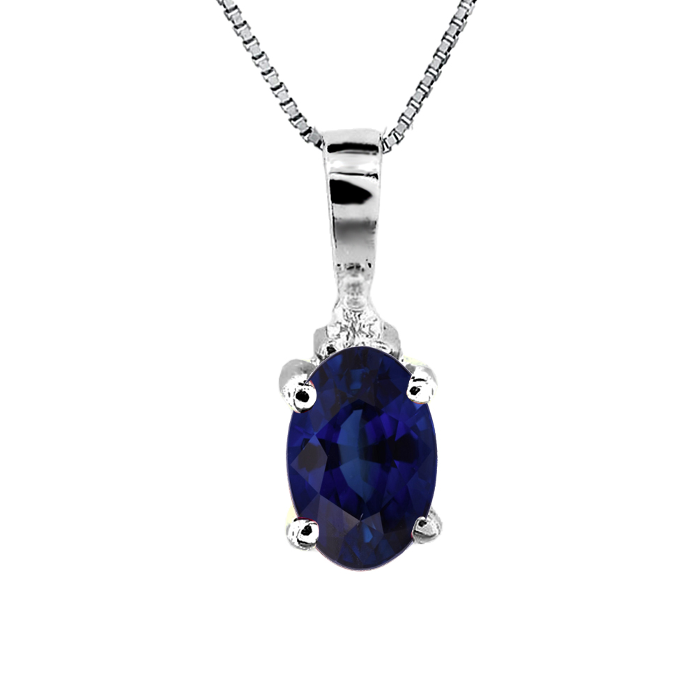 0.40ct tw Diamond and Oval Sapphire Pendant in 14k Gold