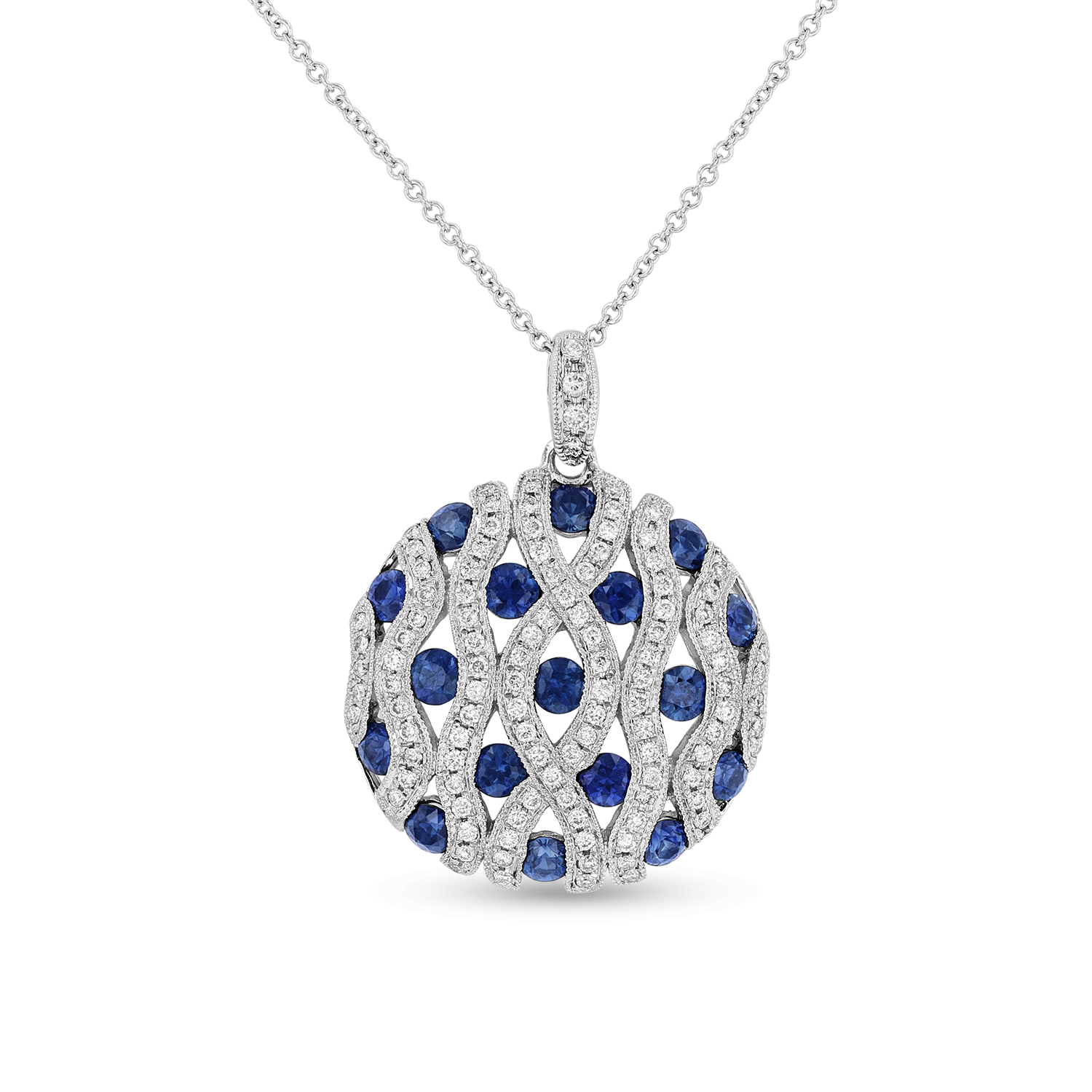 View 2.93ct tw Circle Sapphire and Diamond Pendant set in 14k White Gold
