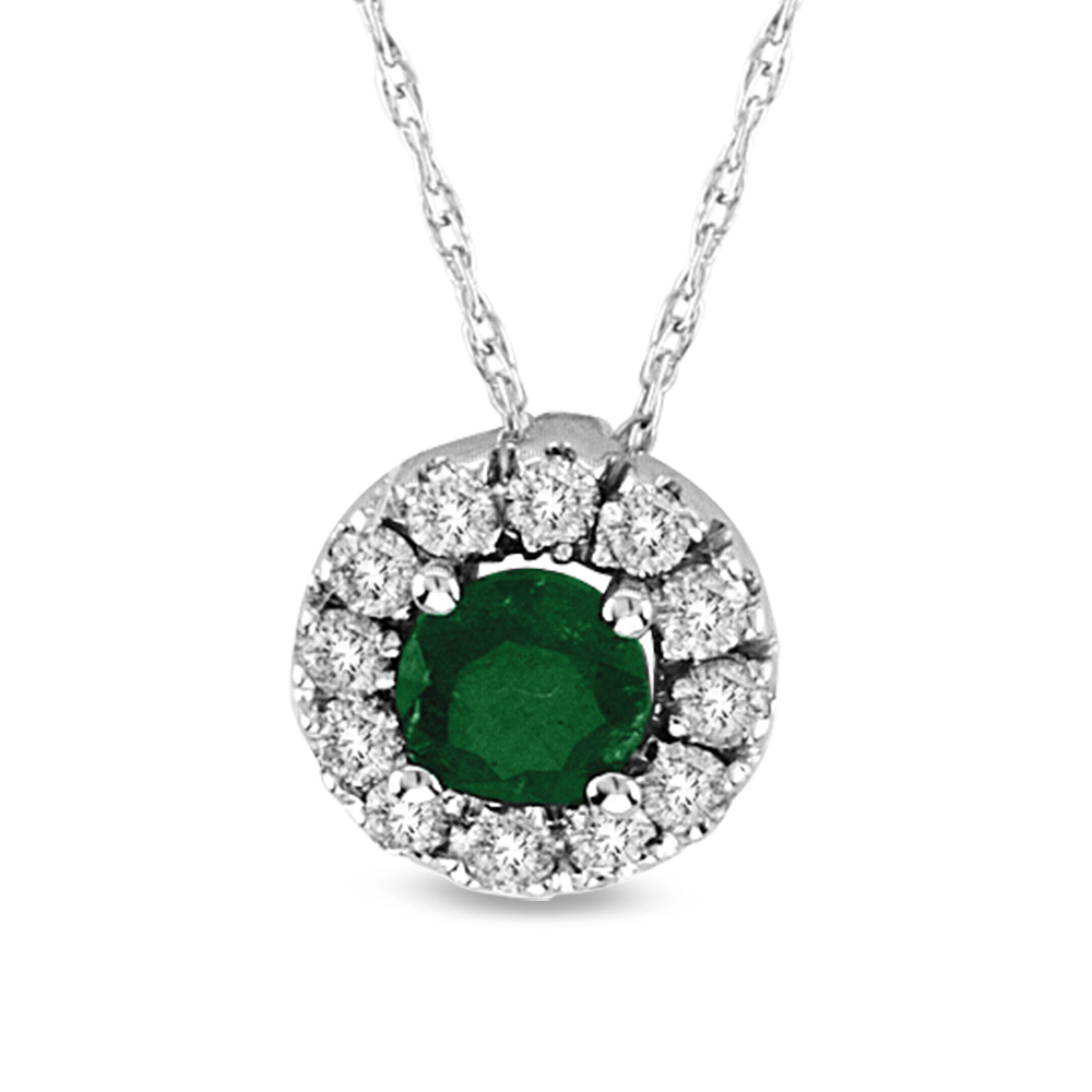0.46cttw Emerald and Diamond Halo Pendant set in 14k Gold
