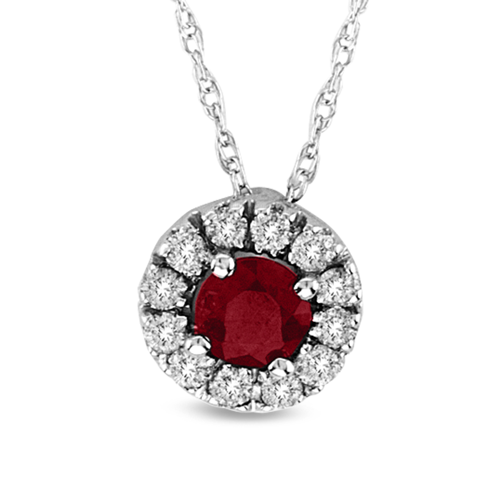 0.53cttw Natural Heated Ruby and Diamond Halo Pendant set in 14k Gold