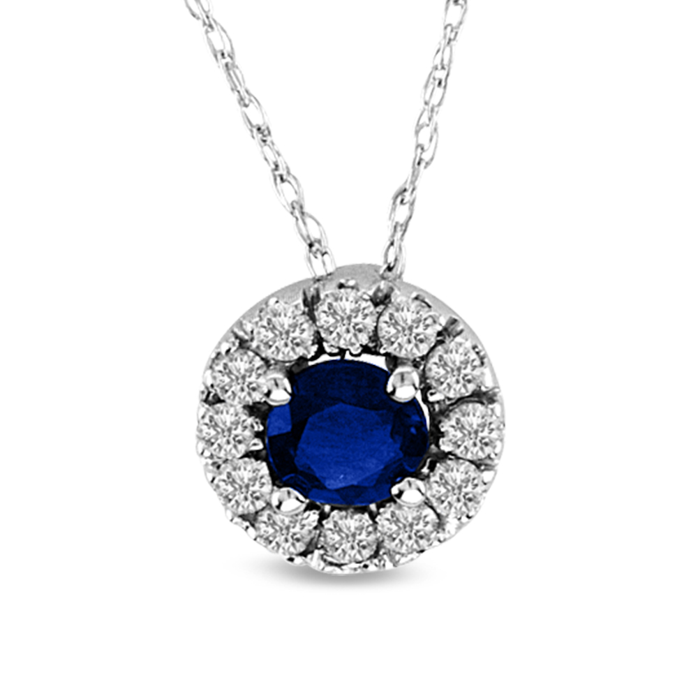 0.48cttw Sapphire and Diamond Halo Pendant set in 14k Gold
