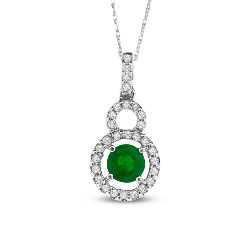 0.65cttw Diamond and Emerald Pendant set in 14k Gold