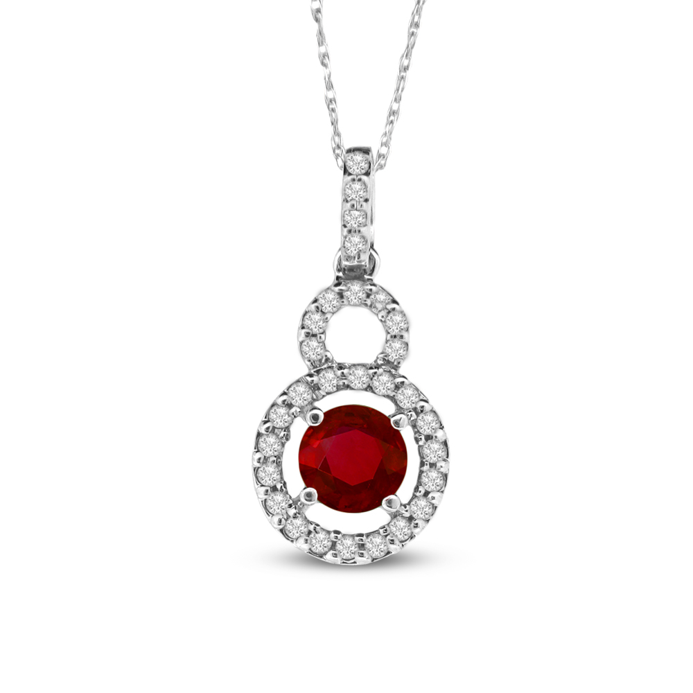 0.63cttw Diamond and Ruby Pendant set in 14k Gold