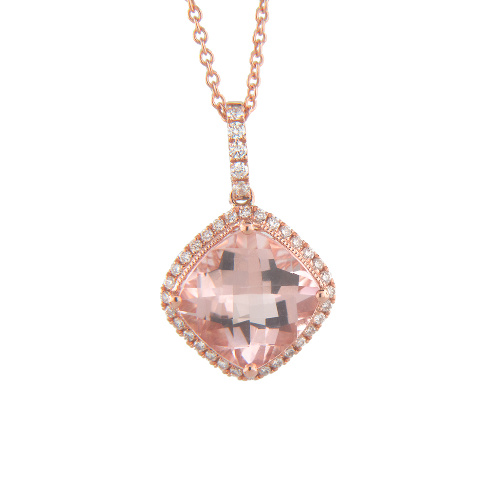 View 2.70cttw Morganite and Diamond Pedant in 14k Rose Gold
