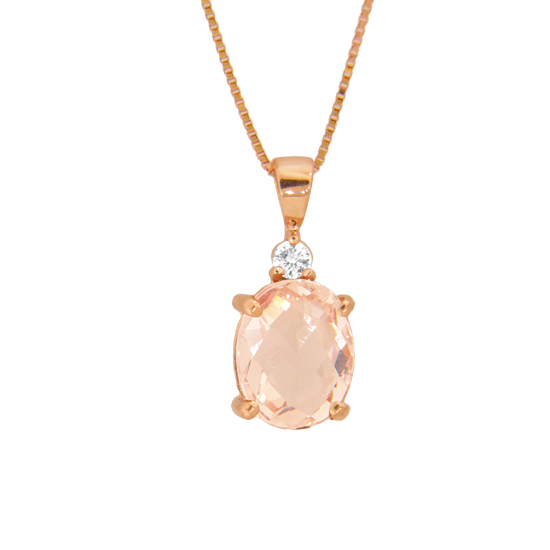 View 1.90cttw Diamond and Morganite Pendant in 14k Rose Gold