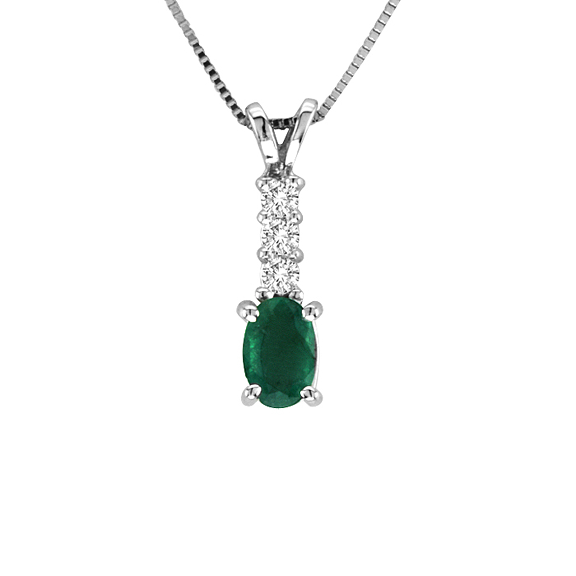 View 0.64cttw Emerald and Diamond Pendant in in 14k Gold